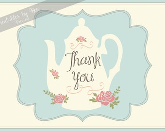 INSTANT DOWNLOAD Tea Party Thank You Cards