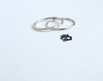 Textured Skinny/Super Skinny Sterling Silver Ring