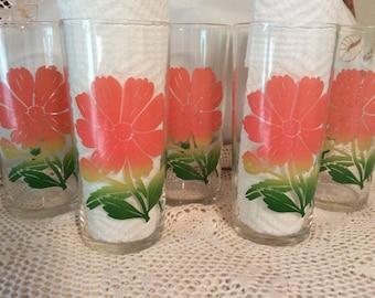 FEDERAL Glass COSMOS Tumbler/Glasses - Set of 5! RARE!