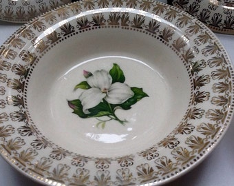 Trillium by American Limoges L'Exquisite Set of 5 Berry Bowls-Dainty and Beautiful!