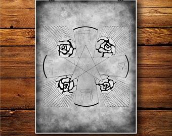 Israel Print, Spiritual Decor, Mandala Poster, Vintage Art   BW543