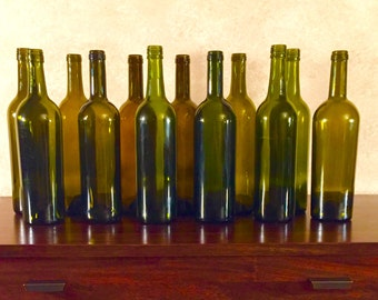 Empty Uncut Wine Bottles without Labels 12-pack *Expedited Shipping