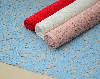 Light Blue Lace Fabric By The Yard Bridal