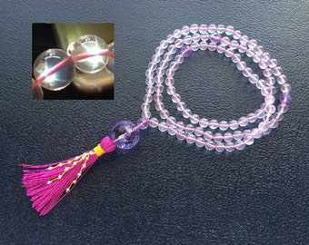 Hand Knotted 8MM Natural AAA Star Ice Rose Quartz, Pink Amethyst & Light Pink Pearl 108 Mala Tassel Necklace