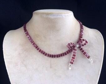 Sterling Silver Natural Rhodolite Garnet Bow Tie Asymmetrical Design Beaded Necklace, Bow Tie Choker