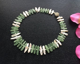 Natural Green Kyanite and White Biwa Pearl Necklace