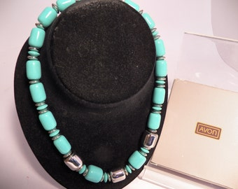 """NOS 1986 City Sleek Necklace by AVON 18"""" SeaEssence (Turquoise) Silvertone Color Beads Created In Japan With Original Box"""