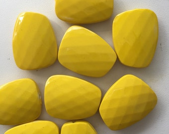 Large Yellow Acrylic Trapezium Pillow Faceted Beads Chunky Yellow Beads 30mm x 24mm.