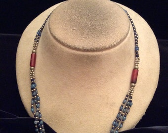 Vintage Double Stranded Shades Of Blue & Red Glass Beaded Necklace