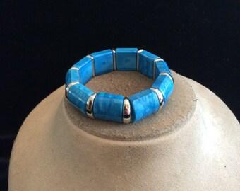 Vintage Blue & Silvertone Panel Bracelet
