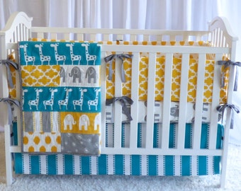 Giraffes on Turquoise  and Yellow, modern nursery, safari, elephants, giraffe, boy nursery, girl nursery, crib bedding, cr