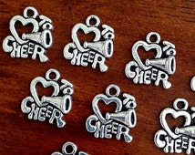 20 Cheerleading Charms, Love to Cheer Charms, Cheer Charms, Cheerleader Charms, Sports Charms, Findings, Craft and Jewelry Supplies