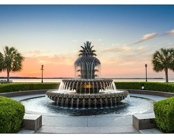 PO2422 Poster Print Pineapple fountain charleston Waterfront Park US