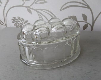 "Glass Jelly Mould or Jello Mold! 1960's Mid Century English, Ideal for Jelly, Jello.  6.5"" x 4.25"" x 4"" high, Immaculate Condition!"