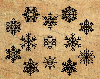 Digital image snowflake , silhouette, clipart, vector, instant download