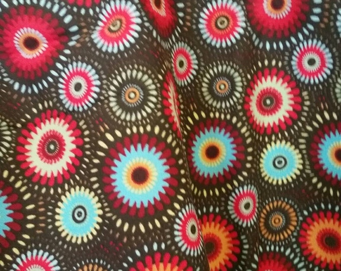 Chocolate Brown Quilting Fabric By The Yard With Burgandy and Blue Geometric Flowers
