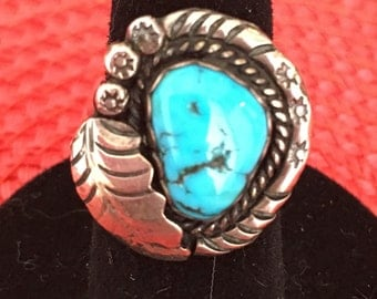 Vintage Native American Turquoise and Sterling Silver Ring Size