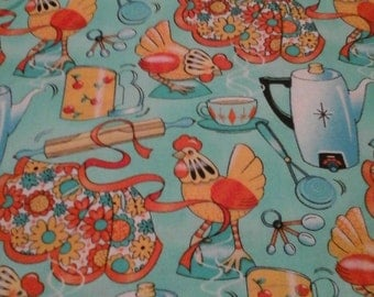 Kitchen fabric Aprons, Chickens,  Utensils and Coffee