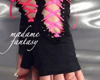 Spandex lace up fingerless gloves black neon pink satin ribbon Goth