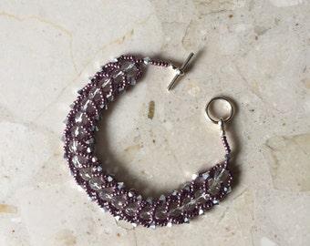 Vintage Style Purple Beaded Braided Bracelet