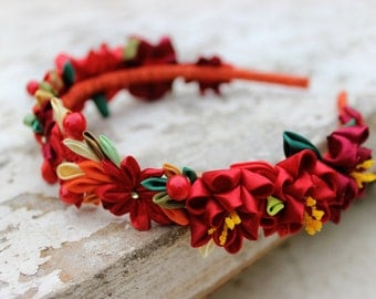 Kanzashi flower crown Wedding crown Bright red flower hair accessory for girl Headpiece Adult flower headband Ukrainian Floral bridal crown