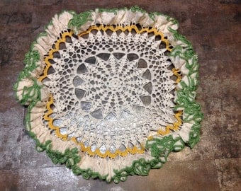 "Hand Crafted Crochet Crocheted Doily Large 20"" White Green Yellow Star Snowflake Ruffle Decor Furniture Table Cloth"