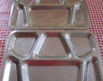 Pair of Stainless Steel Metal Lunch Trays, Mid-Century U.S. Navy Mess Trays