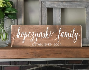 Family name sign, Established year sign, Anniversary gift, Wedding sign, Last name sign