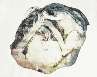 Fine art etching print, Rabbit gravure, Original intaglio, Large hare wall art, Rabbit engraving, Sleeping hare, ethereal art, unusual art
