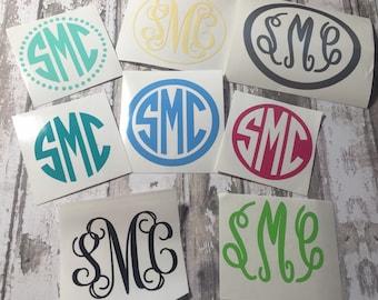 2 INCH Monogram decal, monogram sticker, monogram, vinyl decal, initial monogram, personalized gift, car decal, custom decal