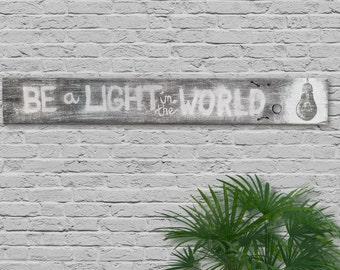 """Large Rustic """"Be a Light in the World"""" Wall Decor"""