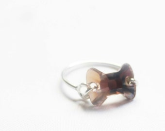 Swarovski Crystal Ring -Sterling ~Silver Ring - Ring - Crystal Ring - Bow Ring - Brown Bow - Handmade Ring - Handmade