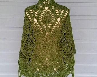 Oversized Crochet Pineapple Shawl - Kelly Green