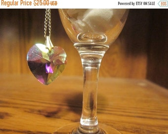 Aurora Borealis Crystal Heart Necklace Vintage 1960's Cut Crystal Pendant 12kt Gold Chain Bridal Evening Jewelry Accessory - Jew019