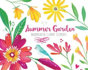 Digital Clipart- Floral Clip Art | Gouache + Watercolor Flower Clipart, Flower Clip art, Floral Bouquet Clipart, Summer Clipart Pink Yellow