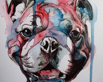 Hand-painted Bulldog card