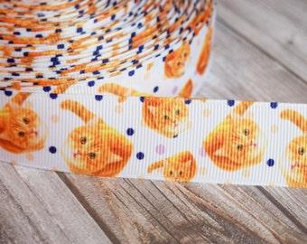 "Cute kitten ribbon - 1"" grosgrain ribbon - Orange tabby cat - Polka dots and kitties - DIY cat crafts - I love cats - 3 or 5 yards"