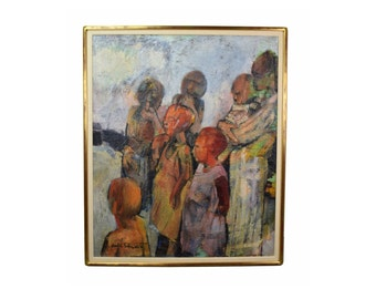 """Vintage Mid Century Abstract Painting """"The Family"""" Carl Schwartz Chicago"""