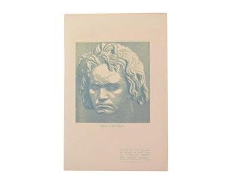 Jacques Beltrand - Beethoven 1907 Wood Engraving  Gazette des Beaux Arts
