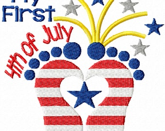 My First 4th of July- A Machine Embroidery Design for Baby's First Independence Day