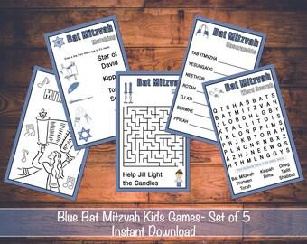Blue Bat Mitzvah Printable Games for Kids Instant Download