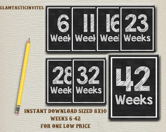 Week By Week Pregnancy Countdown, Instant Download Pregnancy Announcement, Photo Prop Pregnancy, Props Chalkboard Countdown, Pregnancy Sign