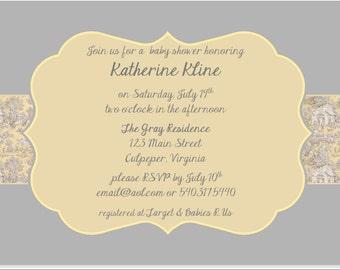 Gray and Yellow Toile Invitation, Printable