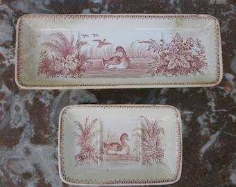 french Antique Set of one comb holder, one Soap holder Sarreguemines U & C model ducks XIX-th SOAP dishes, door-comb Sarreguemines UC