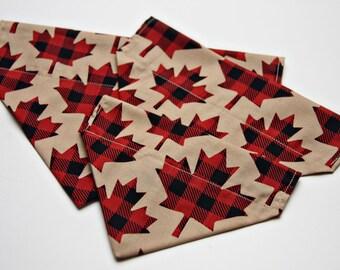 Plaid Maple Leaf Dog Bandana