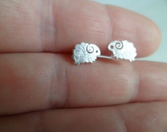 "925 Silver Tiny stud earrings ""Rams""."