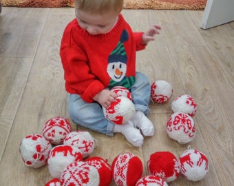 Christmas knitted ball Handmade Christmas Baubles  tree decoration, Knit Christmas ball, Holidays decor,