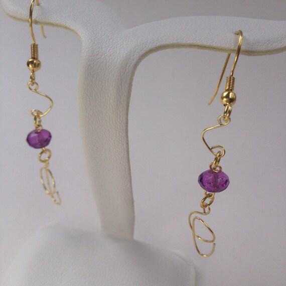 purple gold wire beaded dangle earrings by afestivaleveryday