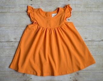 Orange Pumpkin Pearl Flutter Sleeve Dress for girls