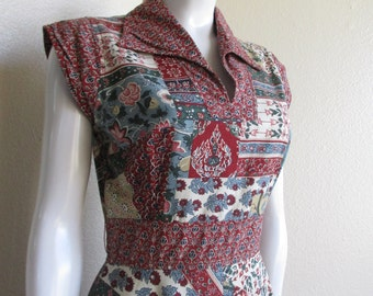 vintage 70s Buddha print maxi dress- Tracy Petites small